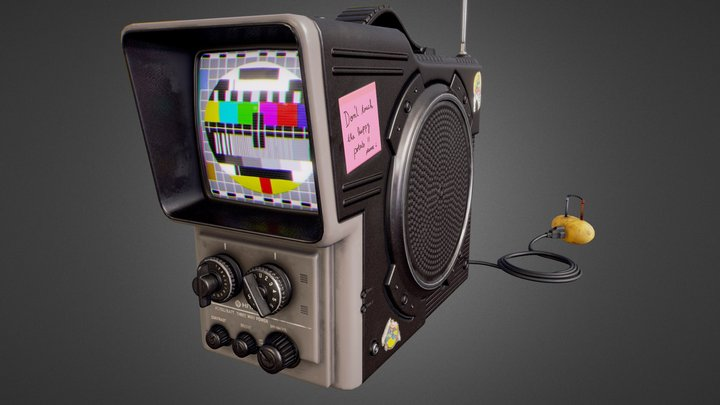 Vintage Hitachi TV Portable 1980 3D Model
