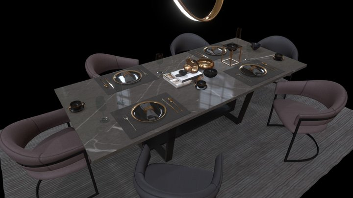 kshane.com Dinning Set Vol 8 3D Model