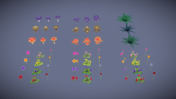 Stylized Foliage 3D Model