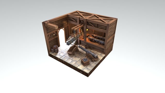 Weapon Store Environment Diorama 3D Model