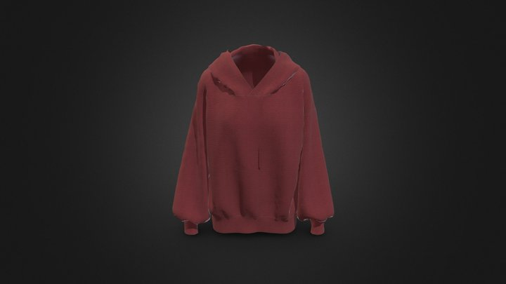 Milk long puff sleeve hooded two-man 3D Model