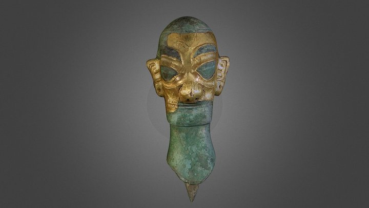 Human Head with Gold Mask 3D Model