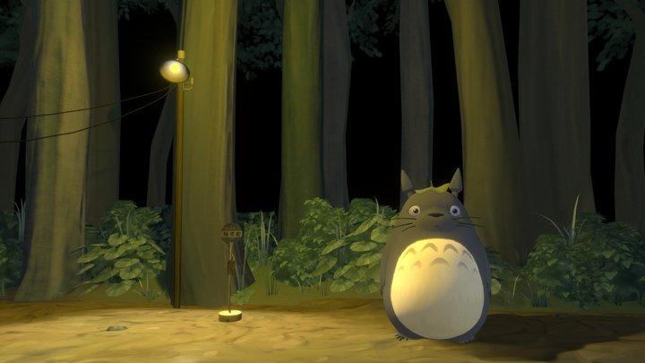 My Neighbor Totoro - Bus stop scene 3D Model