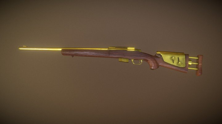 M24 Wood and Golden 3D Model