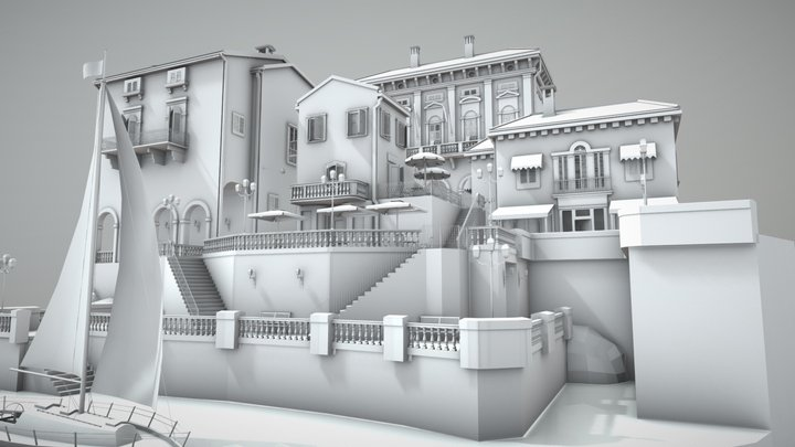 All White Northern Italy City Scene 3D Model
