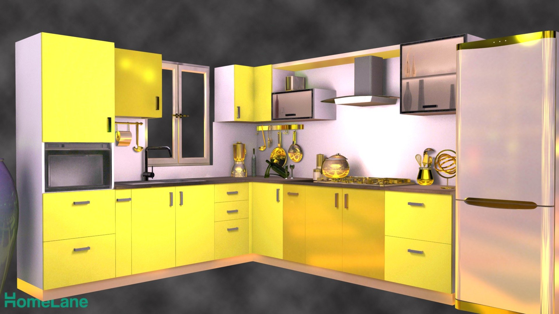 L Shaped Contemporary Modular Kitchen   Download Free 9D model by ...