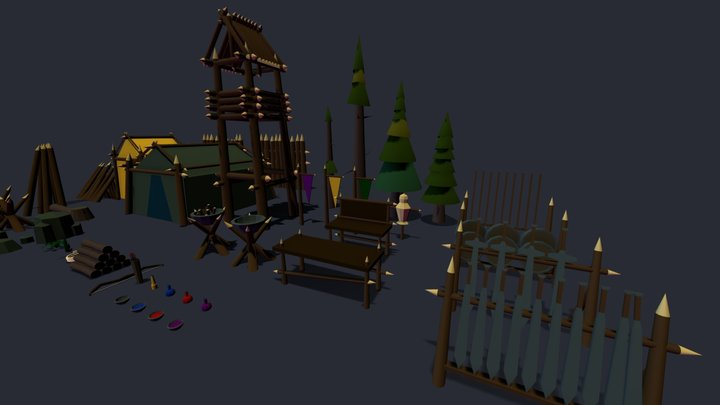 Low Poly Camp Kit 3D Model