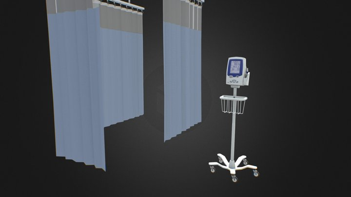 Bed Curtain and Vital Signs Monitor 3D Model