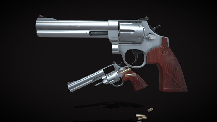 Smith & Wesson Model 629 Deluxe Revolver 3D Model