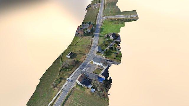 Neu gebaute Straße mit Rückhaltebecken 3D Model