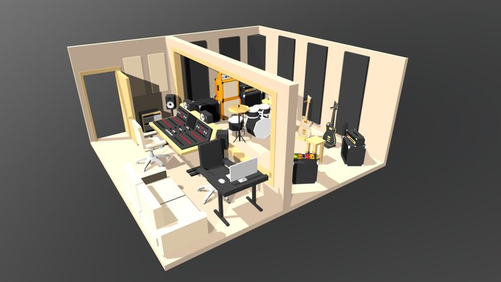 Music Studio - low poly interior 3D Model