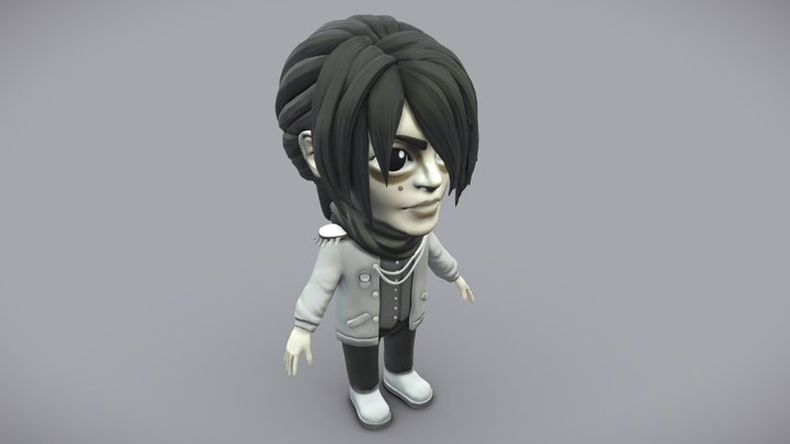 Lowpoly Emo Game Character 3D Model