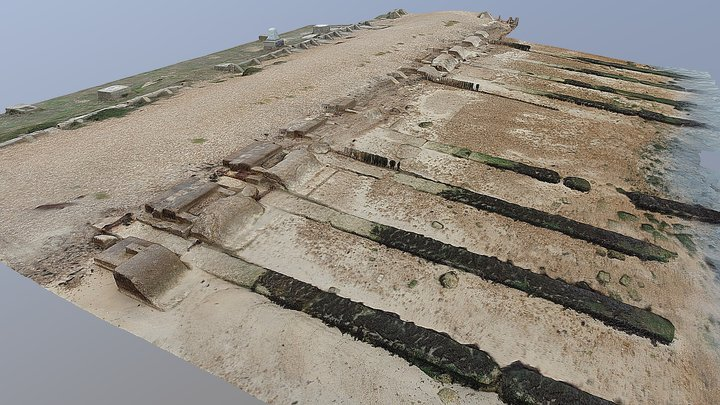 Phoenix caisson launch remains at Stone Point. 3D Model
