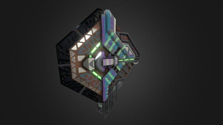 Aztec Cyberpunk Shield 3D Model