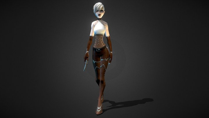 Stylized Steampunk Female Character 3D Model