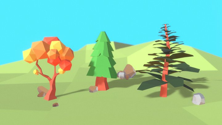 Paper Low Poly Trees 3D Model