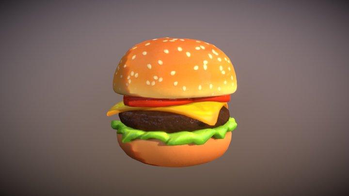 Cheeseburger Toon 3D Model