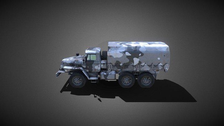 heavy army truck winter version (Russia) 3D Model