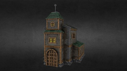 Low Poly Town Hall 3D Model
