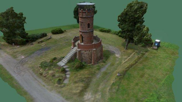 Befliegung Aussichtsturm mit Gelände 3D Model
