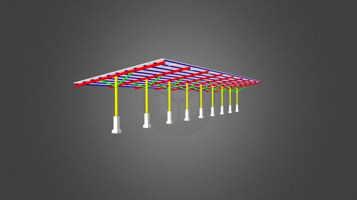 Estrutura metálica de cobertura de garagem 3D Model