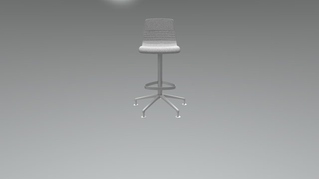 Pop Bar Stool On Glides 3D Model