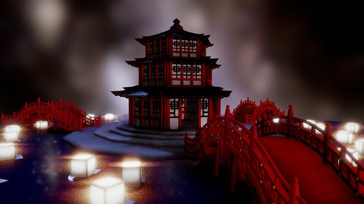Temple of the Spirits (Asian Temple) 3D Model