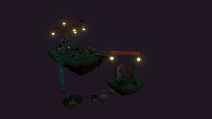 The Magical Cemetery in the Skies - A Diorama 3D Model