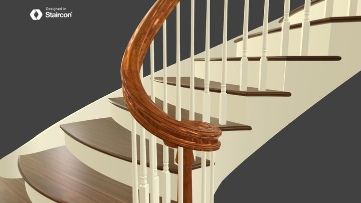 Ellipse Staircase With 6710 Ascending Volute 3D Model