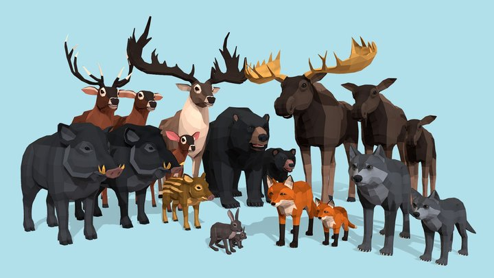 Low Poly Wild Animals pack 3D Model