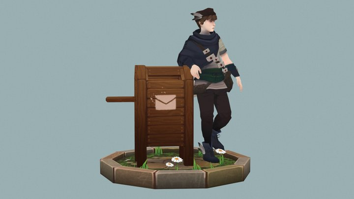 Post Man Village Character 3D Model