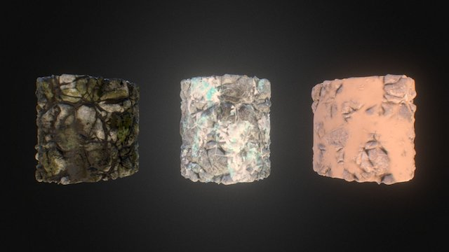 PBR Rock (Moss, Sand and Snow) 3D Model