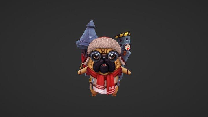 Pug Rocket Dog 3D Model