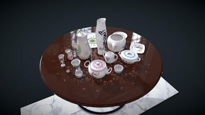 Dish set: bowl, cup, mug, spoon, teapot, vase... 3D Model
