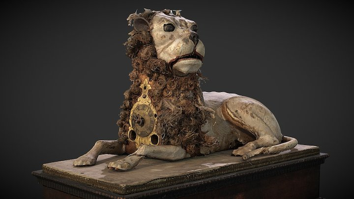 Lion Table Clock 3D Model