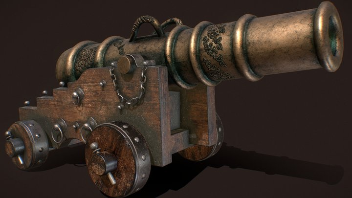 Old Naval Cannon 3D Model