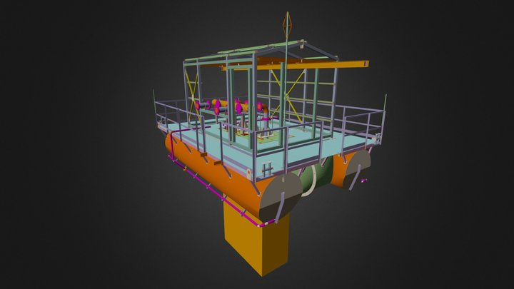 Плавучая насосная станция. Мурманск 3D Model