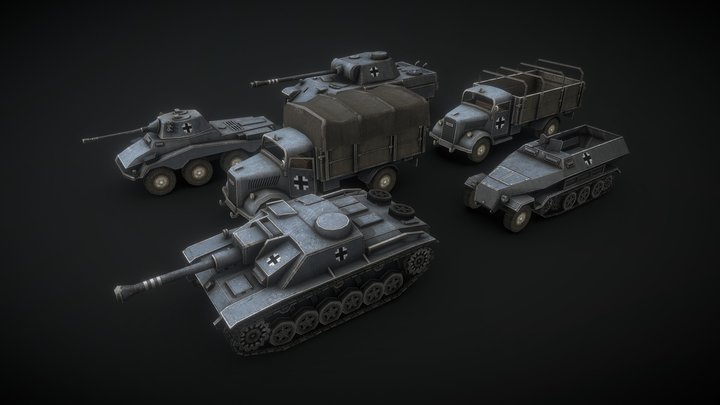 WW2 German Low Poly Tanks #2 3D Model