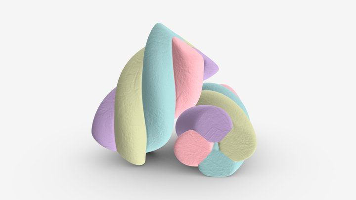 Marshmallows candy cylindrical twisted 3D Model