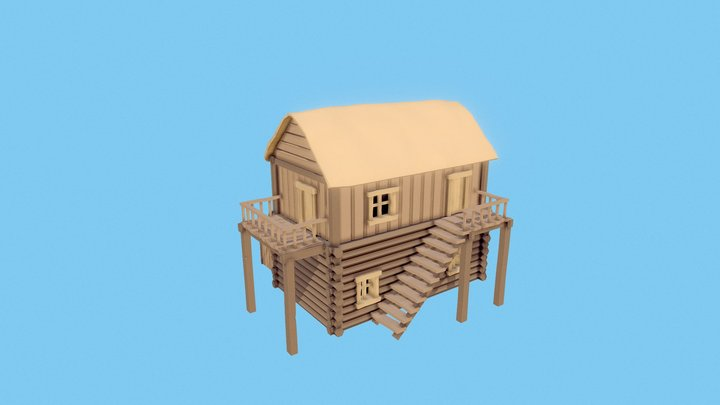Low Poly Wooden House 3D Model