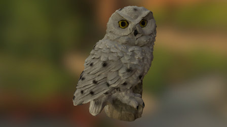 Low Poly Snowy Owl Figurine 3D Scanned 3D Model