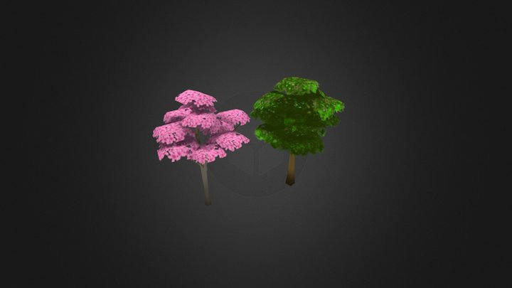 Low poly toony trees 3D Model