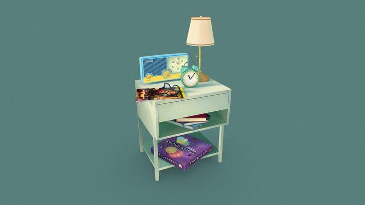 Stylised Bedside Table 3D Model