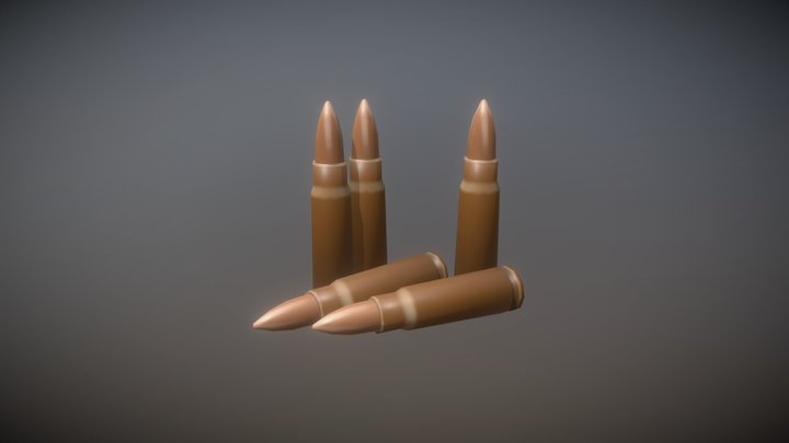 7.62mm Bullets 3D Model