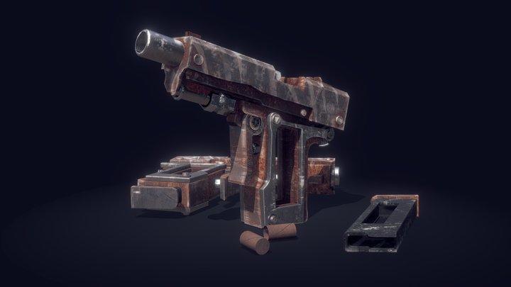 Apocalyptic makeshift pistol (PBR) 3D Model