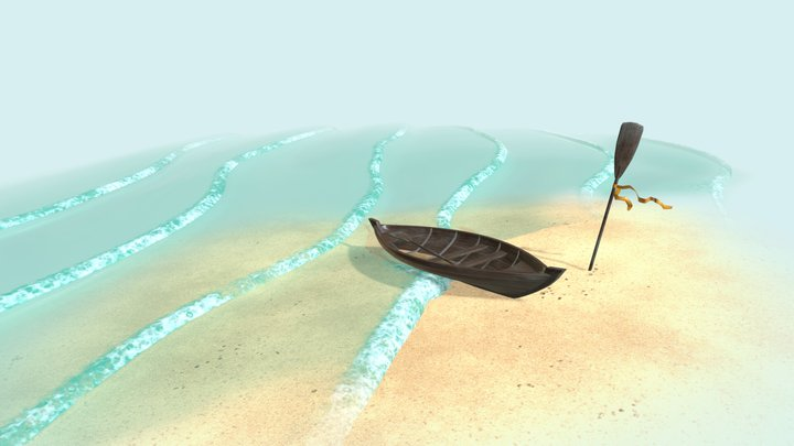 Rowboat on a beach 3D Model