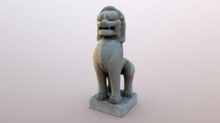 "Ancient ""Singha"" Stone Statue 3D Model"