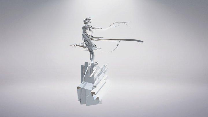 Silver Lady Statue 3D Model
