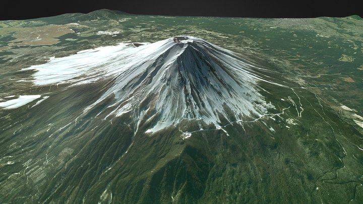 Mount Fuji Volcano Wide Area Model - Japan 3D Model
