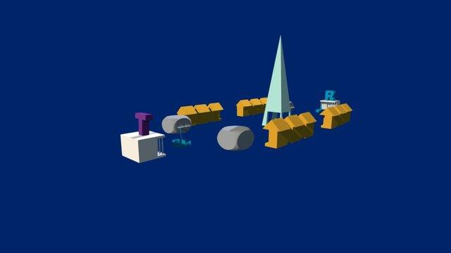 Stadt mit Eifelturm 3D Model
